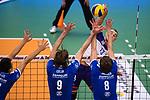 09.12.2018, ZF Arena, Friedrichshafen<br />Volleyball, Bundesliga MŠnner / Maenner, Normalrunde VfB Friedrichshafen vs. United Volleys Frankfurt<br /><br />Block  / Dreierblock Michal Petras (#14 Friedrichshafen), Philipp Collin (#9 Friedrichshafen), Jakub Janouch (#8 Friedrichshafen) - Angriff Moritz Karlitzek (#13 Frankfurt)<br /><br />  Foto © nordphoto / Kurth