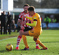 Lincoln City's Neal Eardley vies for possession with Northampton Town's Shaun McWilliams<br /> <br /> Photographer Andrew Vaughan/CameraSport<br /> <br /> The EFL Sky Bet League Two - Lincoln City v Northampton Town - Saturday 9th February 2019 - Sincil Bank - Lincoln<br /> <br /> World Copyright &copy; 2019 CameraSport. All rights reserved. 43 Linden Ave. Countesthorpe. Leicester. England. LE8 5PG - Tel: +44 (0) 116 277 4147 - admin@camerasport.com - www.camerasport.com