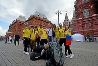 MOSCU - RUSIA, 13-06-2018: Hinchas de Colombia animan a su equipo por las calles de Moscú previo al inicio de la Copa Mundo FIFA 2018 Rusia. / Fans of Colombia cheer for their team prior the beginning of the 2018 FIFA World Cup Russia. Photo: VizzorImage / Julian Medina / Cont