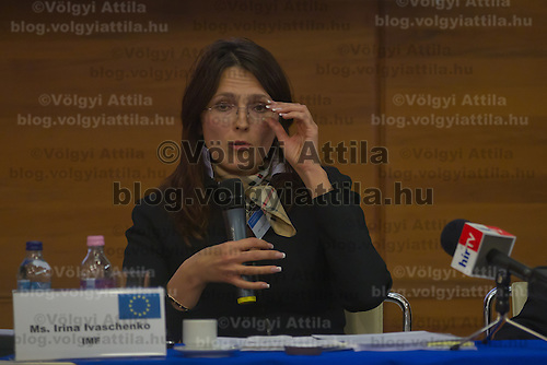 Yrina Ivashenko representative of IMF in Hungaroy attends Economy Forum conference in Budapest, Hungary on November 24, 2011. ATTILA VOLGYI