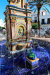 Fountain in Plaza de Espana, Vejer de la Frontera, Cadiz Province, Spain