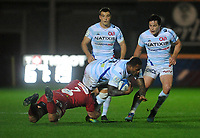 Racing 92 Virimi Vakatawa is tackled by sc7\<br /> <br /> Photographer Ian Cook/CameraSport<br /> <br /> European Rugby Champions Cup - Scarlets v Racing 92 - Saturday 13th October 2018 - Parc y Scarlets - Llanelli<br /> <br /> World Copyright &copy; 2018 CameraSport. All rights reserved. 43 Linden Ave. Countesthorpe. Leicester. England. LE8 5PG - Tel: +44 (0) 116 277 4147 - admin@camerasport.com - www.camerasport.com