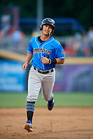 Akron RubberDucks second baseman Mark Mathias (12) rounds the bases after Jodd Carter (not pictured) hit a home run in the top of the sixth inning during a game against the Harrisburg Senators on August 18, 2018 at FNB Field in Harrisburg, Pennsylvania.  Akron defeated Harrisburg 5-1.  (Mike Janes/Four Seam Images)