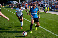 Kansas City, MO - Sunday September 3, 2017: Maya Hayes, Brittany Taylor during a regular season National Women's Soccer League (NWSL) match between FC Kansas City and Sky Blue FC at Children's Mercy Victory Field.