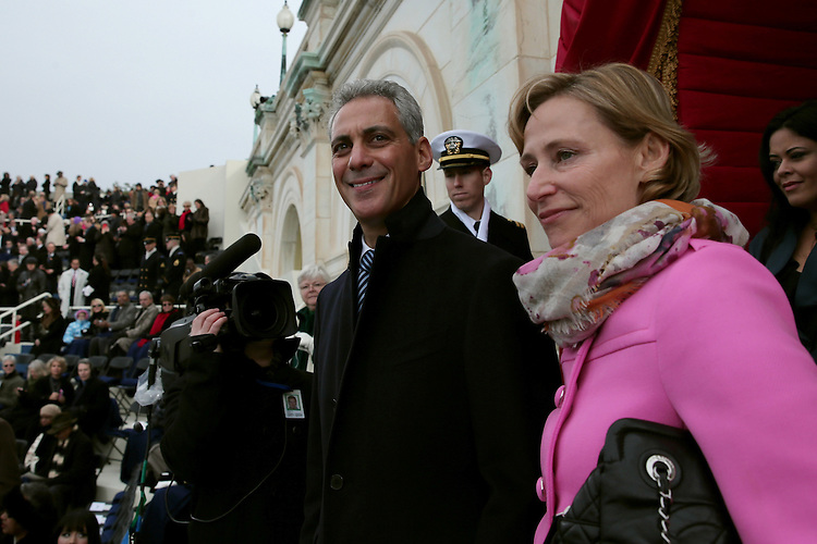 WASHINGTON, DC - JANUARY 21: Chicago Mayor Rahm Emanuel and wife Amy Rule arrive before the presidential inauguration on the West Front of the U.S. Capitol January 21, 2013 in Washington, DC.   Barack Obama was re-elected for a second term as President of the United States.  (Photo by POOL Win McNamee/Getty Images)