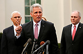 United States House Minority Leader Kevin McCarthy (Republican of California), center, briefs reporters following a meeting with the president and congressional leaders on the government shutdown, at the White House, in Washington, D.C., January 9, 2019. Flanking McCarthy are United States Vice President Mike Pence, left, and United States House Minority Whip Steve Scalise (Republican of Louisiana).<br /> Credit: Martin H. Simon / CNP