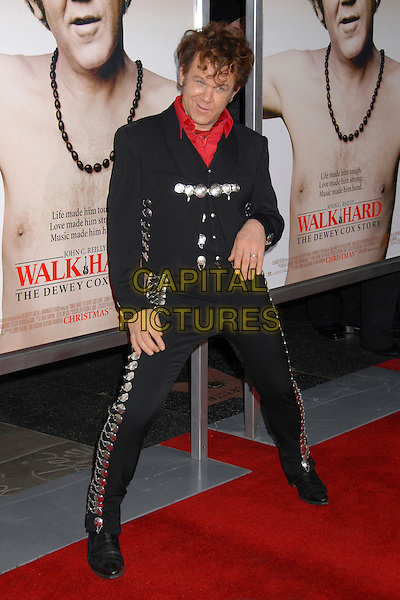 "JOHN C. REILLY.""Walk Hard: The Dewey Cox Story"" Los Angeles Premiere at Grauman's Chinese Theatre, Hollywood, California, USA..December 12th, 2007.full length black trousers jacket silver buttons buckles red shirt posing funny .CAP/ADM/BP.©Byron Purvis/AdMedia/Capital Pictures."