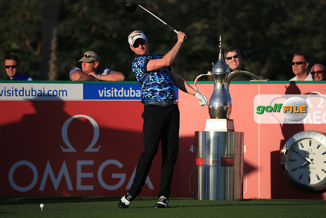 Simon Dyson (ENG) starts Round Three of the 2016 Omega Dubai Desert Classic, played on the Emirates Golf Club, Dubai, United Arab Emirates.  06/02/2016. Picture: Golffile | David Lloyd<br /> <br /> All photos usage must carry mandatory copyright credit (&copy; Golffile | David Lloyd)