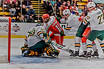 29 December 2018: Rensselaer Engineer Forward Ottoville Leppänen, a Freshman from Espoo, Finland, tries to get the puck past UVM Goaltender Stefanos Lekkas, a Junior from Elburn, IL, in the first period at Gutterson Fieldhouse in Burlington, Vermont. The Catamounts rallied from a 2-0 deficit to defeat RPI 4-2 and win the annual Catamount Cup Tournament. Mandatory Credit: Ed Wolfstein Photo *** RAW (NEF) Image File Available ***