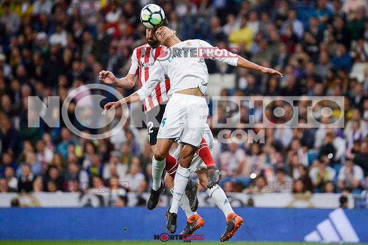 Real Madrid Raphael Varane and Athletic Club Raul Garcia during La Liga match between Real Madrid and Athletic Club at Santiago Bernabeu Stadium in Madrid. April 19, 2017. (ALTERPHOTOS/Borja B.Hojas) /NortePhoto.com