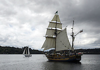 27, August 2008:  The Hawaiian Chieftain a tall ship battled the Lady Washington Wednesday during a canon battle sail in front of the Port of Brownsville in Brownsville, Washington.  For $50.00 you could ride on one of the two tall ships during the canon battle between the two boats.