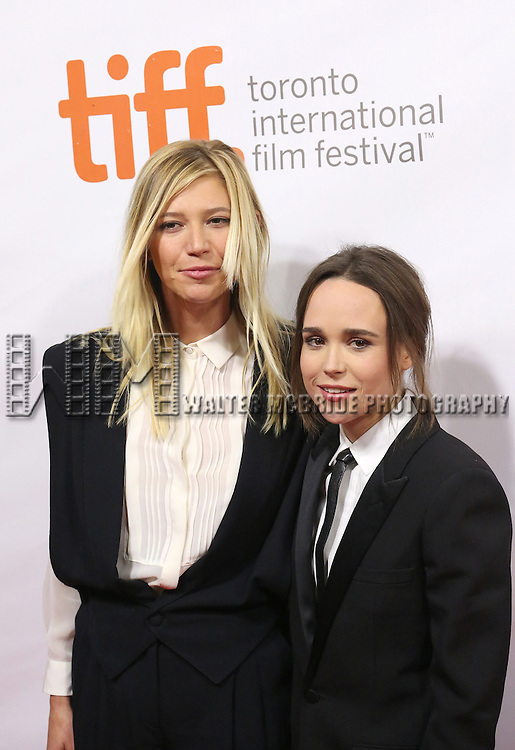 Samantha Thomas and Ellen Page attend the 'Freeheld' premiere during the 2015 Toronto International Film Festival at Roy Thomson Hall on September 13, 2015 in Toronto, Canada.