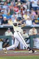 Vanderbilt Commodores outfielder JJ Bleday (51) swings the bat against the Michigan Wolverines during Game 3 of the NCAA College World Series Finals on June 26, 2019 at TD Ameritrade Park in Omaha, Nebraska. Vanderbilt defeated Michigan 8-2 to win the National Championship. (Andrew Woolley/Four Seam Images)