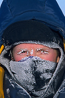 Frost covered face mask, arctic coastal plains, Alaska