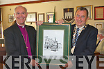 WELCOME: The Mayor of Tralee Ted Fitzgerald presenting the Archbishop and Primate of the Church of Ireland Alan Harper with a print of the Croppy by Denny Street at a welcoming ceremony at the Tralee Town Hall on Tuesday.   Copyright Kerry's Eye 2008
