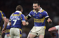 PICTURE BY BEN DUFFY/SWPIX.COM - Rugby League - Super League Grand Final - St. Helens Saints v Leeds Rhinos - Old Trafford, Manchester, England - 04/10/08...Copyright - Simon Wilkinson - 07811267706...Leeds Kevin Sinfield celebrates with Rob Burrow.