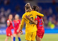 LYON,  - JULY 2: Ashlyn Harris #18 celebrates with Christen Press #23 during a game between England and USWNT at Stade de Lyon on July 2, 2019 in Lyon, France.