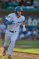 Tre Todd (11) of the Ogden Raptors runs to first base against the Orem Owlz at Lindquist Field on June 22, 2019 in Ogden, Utah. The Owlz defeated the Raptors 7-4. (Stephen Smith/Four Seam Images)