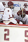 Scott Savage (BC - 2), Casey Fitzgerald (BC - 5) - The visiting University of Vermont Catamounts tied the Boston College Eagles 2-2 on Saturday, February 18, 2017, Boston College's senior night at Kelley Rink in Conte Forum in Chestnut Hill, Massachusetts.Vermont and BC tied 2-2 on Saturday, February 18, 2017, Boston College's senior night at Kelley Rink in Conte Forum in Chestnut Hill, Massachusetts.