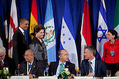 United States President Barack Obama, left, and President Dilma Rousseff of Brazil, second left, arrive for a meeting of the Open Government Partnership, a global effort to make governments better at the Waldorf-Astoria in New York, New York on Tuesday, September 20, 2011. Also pictured at the table from left: an unidentified representative of Indonesia; President Felipe Calderón of Mexico and Jens Stoltenberg, Prime Minister of Norway..Credit: Allan Tannenbaum / Pool via CNP