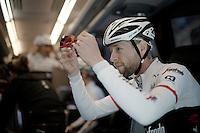 Ryder Hesjedal (CAN/Trek-Segafredo) checking his Oakleys <br /> <br /> pre-Giro TT-training ride with Team Trek-Segafredo in Gelderland (The Netherlands)<br /> <br /> 99th Giro d'Italia 2016