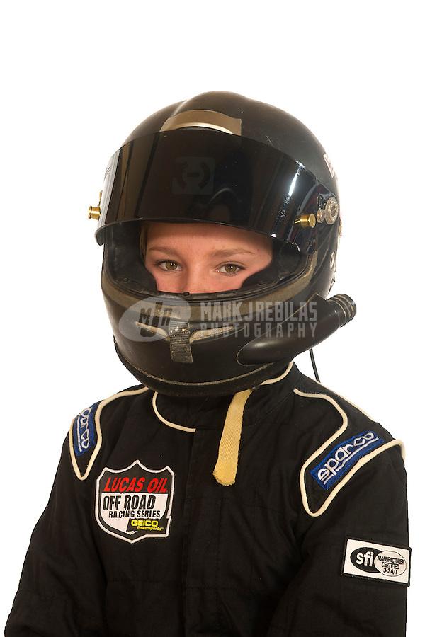 Mar. 18, 2011; Chandler, AZ, USA;  LOORRS driver Paige Porter poses for a portrait at Firebird International Raceway. Mandatory Credit: Mark J. Rebilas