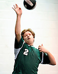 8 November 2009: Enosburg Falls Boys participate in the 2009 High School Volleyball State Championships hosted by Vermont Commons School at the Sports and Fitness Edge in South Burlington, Vermont. The Enosburg Falls Hornets successfully defended their boys' title while the VCS Flying Turtles rallied to maintain their girls' team crown. Mandatory Credit: Ed Wolfstein Photo