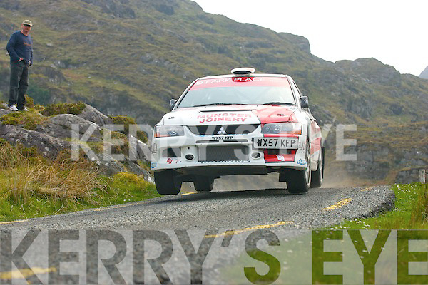 While holding 3rd overall in his Mitsubishi EVO9,Castleisland's Alan Ring blasts his way through the Ballaghbeama gap stage of the CarTell.ie International rally of the lakes last Saturday before succumbing to a major engine misfire forcing him to withdraw from the rally before the final stage of day 1..