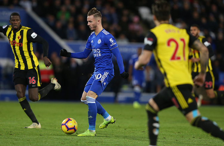 Leicester City's James Maddison closely watched by Watford's Abdoulaye Doucoure (right) and Kiko Femenia <br /> <br /> Photographer Stephen White/CameraSport<br /> <br /> The Premier League - Leicester City v Watford - Saturday 1st December 2018 - King Power Stadium - Leicester<br /> <br /> World Copyright © 2018 CameraSport. All rights reserved. 43 Linden Ave. Countesthorpe. Leicester. England. LE8 5PG - Tel: +44 (0) 116 277 4147 - admin@camerasport.com - www.camerasport.com