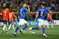 Lorenzo Pellegrini of Italy celebrates after scoring the goal of 3-1 with Patrick Cutrone <br /> Bologna 16-06-2019 Stadio Renato Dall'Ara <br /> Football UEFA Under 21 Championship Italy 2019<br /> Group Stage - Final Tournament Group A<br /> Italy - Spain <br /> Photo Andrea Staccioli / Insidefoto