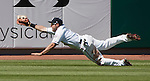 Reno Aces centerfielder Adam Eaton makes the diving catch against the Tacoma Rainiers in their game played on Monday, May 7, 2012 in Reno, Nevada.