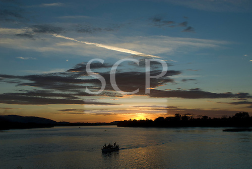 Pará State, Brazil. São Félix do Xingu. Sunset at the meeting of the Fresco River with the Xingu.