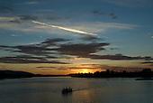 Pará State, Brazil. São Félix do Xingu. Sunset at the meeting of the Fresco River with the Xingu.