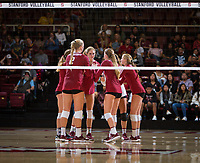 STANFORD, CA - September 9, 2018: Kathryn Plummer, Holly Campbell, Jenna Gray, Kate Formico at Maples Pavilion. The Stanford Cardinal defeated #1 ranked Minnesota 3-1 in the Big Ten / PAC-12 Challenge.