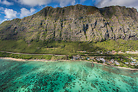 An aerial view of Waimanalo Beach backed by the Ko'olau Mountains, O'ahu.
