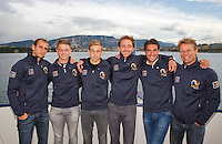 Swiss, Genève, September 14, 2015, Tennis,   Davis Cup, Swiss-Netherlands, Dutch team on a boat trip on lake Geneve, ltr:  Thiemo de Bakker, Tim van Rijthoven, Tallon Griekspoor,  Matwe Midelkoop , Jesse Huta Galung and captain Jan Siemerink<br />