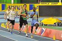 Photo: Paul Greenwood/Richard Lane Photography. Aviva World Trials & UK Championships. 14/02/2010. .Richard Buck and Nigel Levine in the Mens 400m.