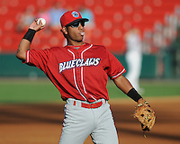 Infielder Carlos Perdomo (11) of the Lakewood BlueClaws, Class A affiliate of the Philadelphia Phillies, in a game against the Greenville Drive on July 12, 2011, at Fluor Field at the West End in Greenville, South Carolina. (Tom Priddy/Four Seam Images)