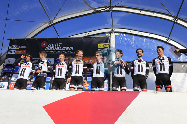 Team Sunweb on stage at sign on before the start of Gent-Wevelgem in Flanders Fields 2017, running 249km from Denieze to Wevelgem, Flanders, Belgium. 26th March 2017.<br /> Picture: Eoin Clarke | Cyclefile<br /> <br /> <br /> All photos usage must carry mandatory copyright credit (&copy; Cyclefile | Eoin Clarke)