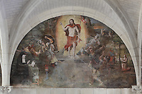 Resurrection fresco, Chapter House, Fontevraud Abbey, Fontevraud-l'Abbaye, Loire Valley, Maine-et-Loire, France. The Chapter House was built in the 16th century and its walls were painted in 1563 with frescoes of scenes from Christ's Passion by the Anjou artist Thomas Pot. Here we see Christ's resurrection into Heaven. He is clothed in red and holds the red standard with white cross which has been the flag of the French army since the 14th century. The abbey itself was founded in 1100 by Robert of Arbrissel, who created the Order of Fontevraud. It was a double monastery for monks and nuns, run by an abbess. Picture by Manuel Cohen