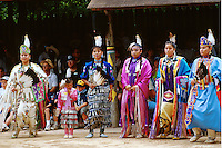 Tribal dance performance and competition. Traditional dance square. American Indian. Native tribe. Pow wow. Women dancers. . Livingston Texas, Alabama-Coushatta Indian Reservation.