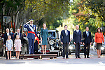 Princess Sofia of Spain, Princess Leonor of Spain, King Felipe VI of Spain, Queen Letizia of Spain, President of Government of Spain Mariano Rajoy, Minister of Defense Pedro Morenes, President of the Region of Madrid Tomas Gonzalez and Madrid City Mayor Ana Botella attend Spain's National Day Military Parade. October 12 ,2014. (ALTERPHOTOS/Pool)