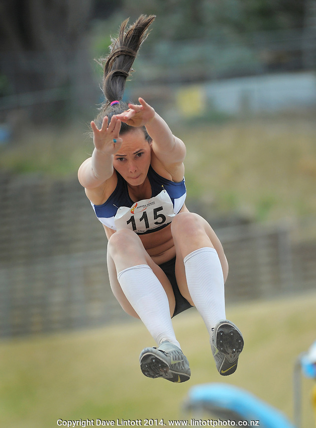 Portia Bing competes in the women's long jump during day three of the 2014 National Track and Field Championships at Newtown Park, Wellington, New Zealand on Sunday, 30 March 2014. Photo: Dave Lintott / lintottphoto.co.nz