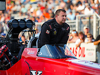 Sep 29, 2017; Madison , IL, USA; NHRA top fuel driver Kyle Wurtzel during qualifying for the Midwest Nationals at Gateway Motorsports Park. Mandatory Credit: Mark J. Rebilas-USA TODAY Sports