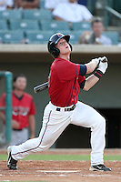 Lancaster JetHawks outfielder Grant Hogue #11 bats against the Lake Elsinore Storm at Clear Channel Stadium on September 5, 2011 in Lancaster,California. Lake Elsinore defeated Lancaster 11-2.(Larry Goren/Four Seam Images)