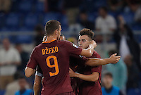 Calcio, Serie A: Roma, stadio Olimpico, 21 settembre 2016.<br /> Roma&rsquo;s Stephan El Shaarawy, right, celebrates with teammate Edin Dzeko, after scoring during the Serie A soccer match between Roma and Crotone at Rome's Olympic stadium, 21 September 2016. Roma won 4-0.<br /> UPDATE IMAGES PRESS/Isabella Bonotto