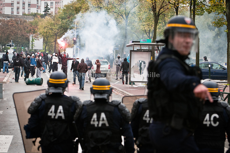 Hundreds of youth fought the police near the college Joliot Curie in Nanterre, in the suburbs of Paris, on October 19 for the second day in a row. A couple of cars were burned and bus stops smashed before they were pushed back in the Pablo Picasso complex. The blockade of colleges often turned into urban violence in the most sensitive areas..____________________________________________.2010 in France was marked by one of the largest social crisis as millions took to the streets during 3 months to oppose Sarkozy Government's reform of the pension law. The country came close to a standstill in October with gasoline shortage but before Christmas, the law was passed.