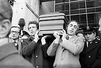 Milano, Funerali del giudice Emilio Alessandrini assassinato da un commando di Prima Linea il 29 Gennaio 1979.<br /> Milan, Funeral of judge Emilio Alessandrini shot down by terrorists on January 29, 1979.