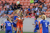 Houston, TX - Sunday Sept. 11, 2016: Kristie Mewis, Rebecca Moros, Morgan Brian during a regular season National Women's Soccer League (NWSL) match between the Houston Dash and the Boston Breakers at BBVA Compass Stadium.
