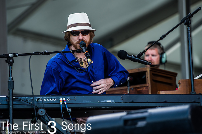 C.R. Gruver of the New Orleans Suspects performs during the New Orleans Jazz & Heritage Festival in New Orleans, LA.
